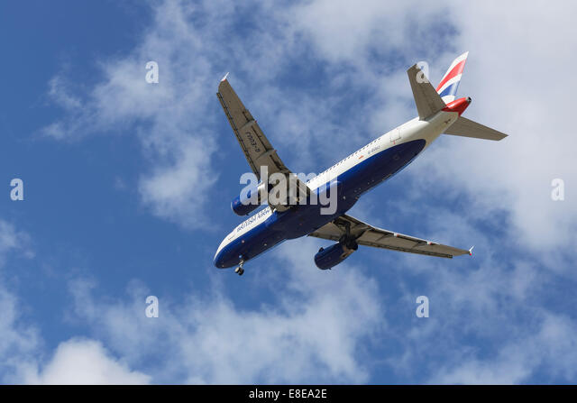 British Airways Airbus A320 aircraft on the final approach to Manchester Airport UK - Stock Image