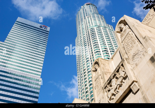 Los Angeles California CA L.A. Downtown Financial District city skyline skyscraper high-rise building US Bank Tower - Stock Image