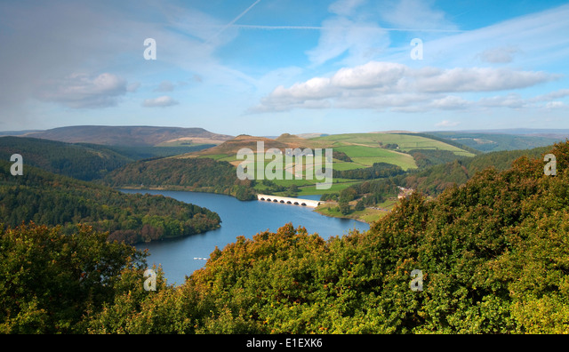 Autumn at Bamford Edge, overlooking Ladybower Reservoir in the Peak District Derbyshire England UK - Stock Image