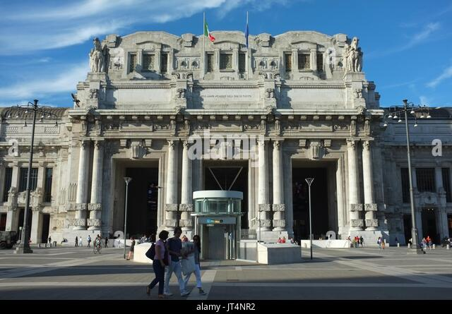 Exterior facade of Central railway station, Milan, Lombardy, Italy, July 2017 - Stock Image