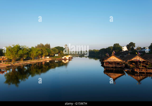 Floating raft restaurant on the River Kwai, Kanchanaburi, Thailand, Southeast Asia, Asia - Stock Image
