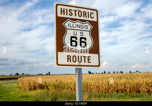 Illinois Waggoner Historic Route 66 sign corn cornfields rural - Stock Image