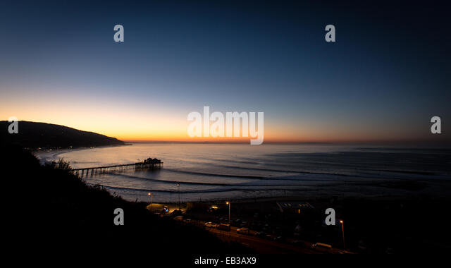 USA, California, Los Angeles County, Malibu, Coastline at dawn - Stock-Bilder