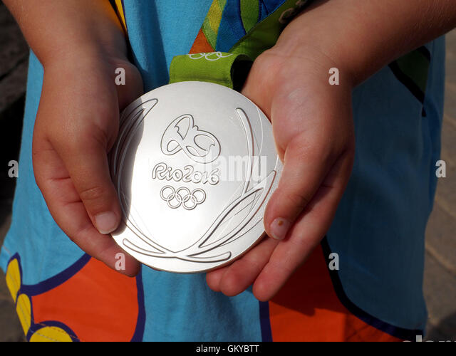 Silver medal from Rio 2016 - Stock Image