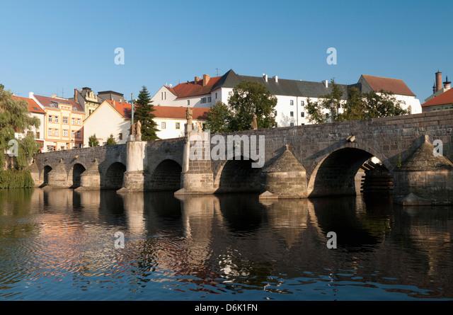 Kamenny Most, the oldest Gothic stone bridge in the Czech Republic, over the Otava River, Pisek, Budejovicko, Czech - Stock-Bilder