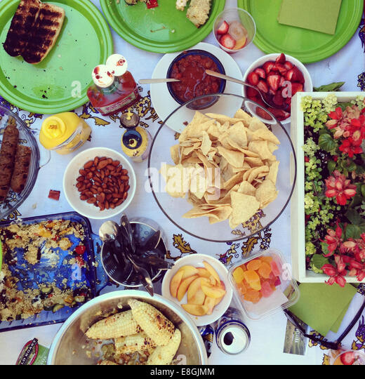 Table with barbecue food - Stock-Bilder