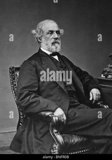 Portrait photo circa late 1860s of General Robert E Lee (1807 - 1870) - iconic Confederate commander in the American - Stock Image