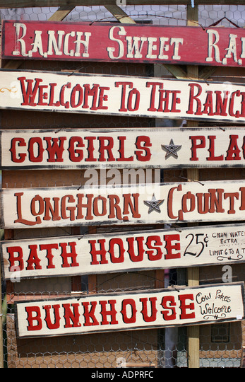 Florida, signs, West, western, bunkhouse, ranch, cowgirls, longhorn, decoration, - Stock Image