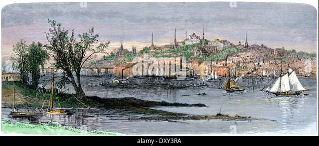 Albany, capital of New York, from east side of the Hudson River, 1880s. - Stock Image