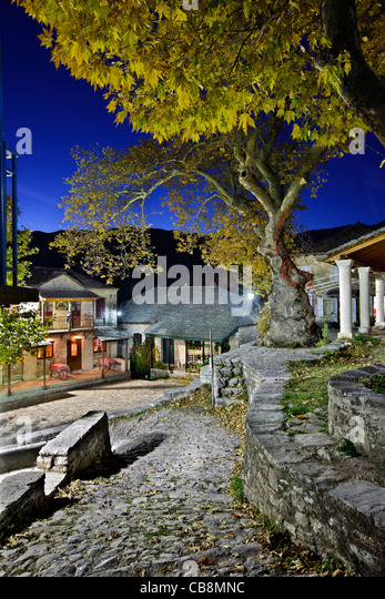 Kalarrytes village, one of the most beautiful Greek mountainous villages, on Tzoumerka mountains, Ioannina, Epirus, - Stock Image