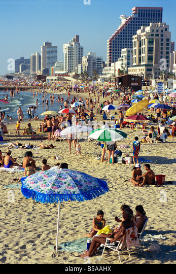 Beach and seafront, Tel Aviv, Israel, Middle East - Stock Image