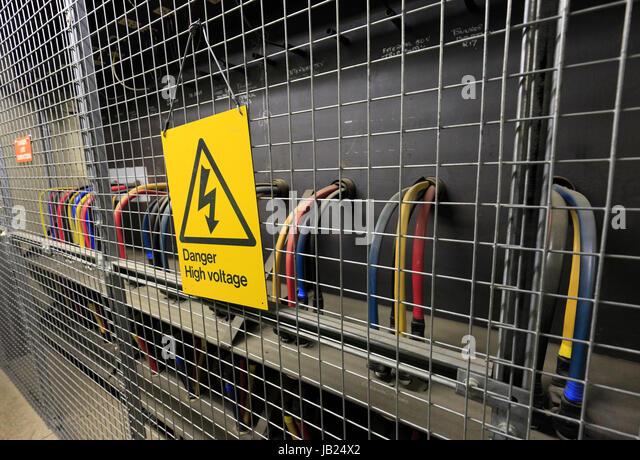 High Voltage Cage : Underground power supply stock photos
