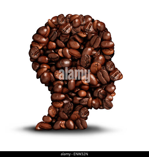 Coffee head concept as a symbol for a barista or a cafe icon person as a group of roasted beans shaped as a human - Stock-Bilder