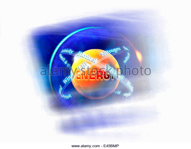 Text circling globe of fuel and energy alternatives - Stock Image