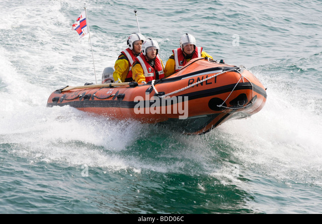 The RNLI Inshore Lifeboat in action - Stock Image