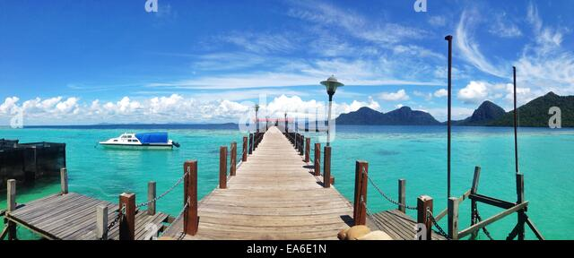 Malaysia, Sabah, Panoramic view of jetty on island - Stock Image