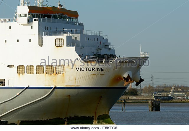 RO-RO cargo ship VICTORINE on the river Thames, Cobelfret Ferries, Greenhithe, Kent, England, - Stock Image