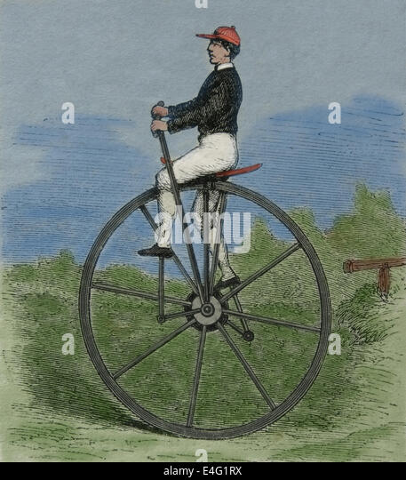 Unicycle. 19th century. Engraving. Later colouration. - Stock-Bilder