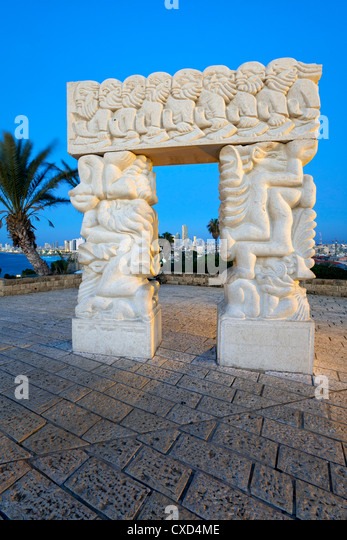 Sculpture depicting the fall of Jericho, Isaac's sacrifice and Jacob's dream, HaPisgah Gardens, Tel Aviv, - Stock Image