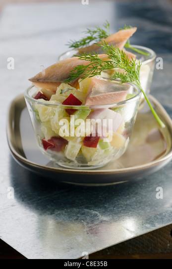 Herring,potato and beetroot salad - Stock Image