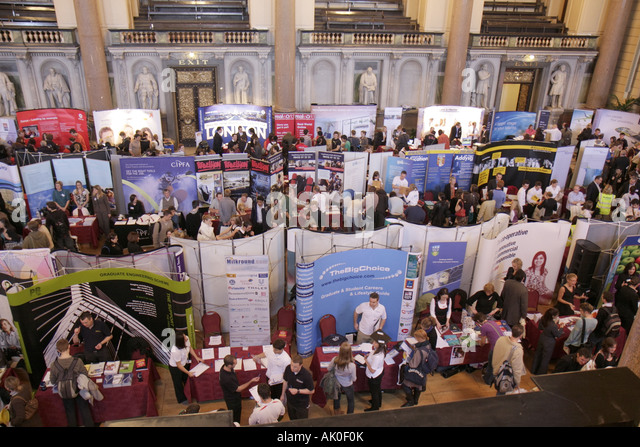 England UK Liverpool St. George's Hall Great Hall 1854 Neo Classical career fair employment exhibitors booths - Stock Image
