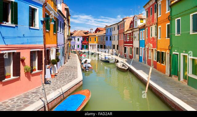 Village Burano near Venice, (Burano Lagoon Island), Italy - Stock-Bilder
