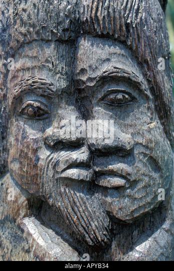 Jamaica Ocho Rios wood carving of Rasta heads - Stock Image