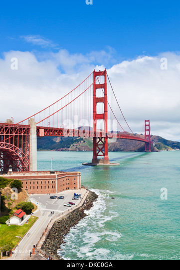 San Francisco Golden Gate Bridge day linking the city with Marin County from Fort Point City of San Francisco California - Stock Image