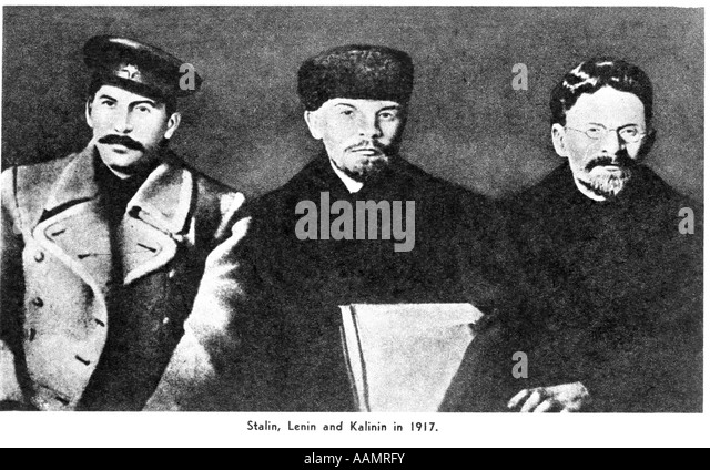 TRIO OF RUSSIAN REVOLUTIONISTS STALIN LENIN KALININ RUSSIA REVOLUTION GOVERNMENT POLITICS USSR - Stock Image