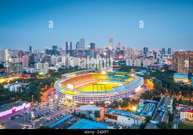 Beijing, China skyline and stadium. - Stock Image