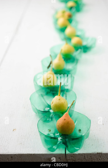 Ya li pears lined up on table - Stock Image