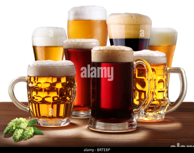 Still-life with beer glasses. On a white background. - Stock Image