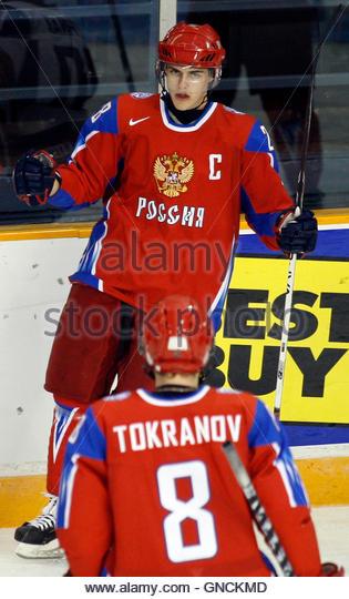 Russia's captain Nikita Filatov (top) celebrates his goal against Slovakia with teammate Vasili Tokranov during - Stock Image