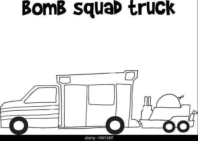 Bomb squad truck vector illustration - Stock Image
