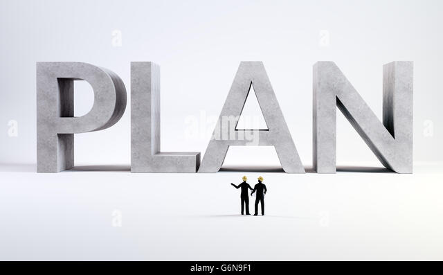 Two tiny engineers overseeing a plan - 3d concept illustration - Stock-Bilder