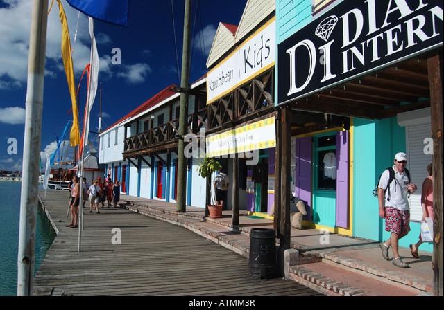 Shops around Redcliffe Quay, St. John's, Antigua, Caribbean - Stock Image