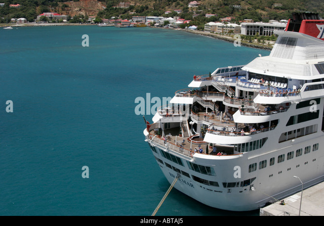 BVI Tortola Road Town Road Bay Cruise Ship Dock Braemar - Stock Image