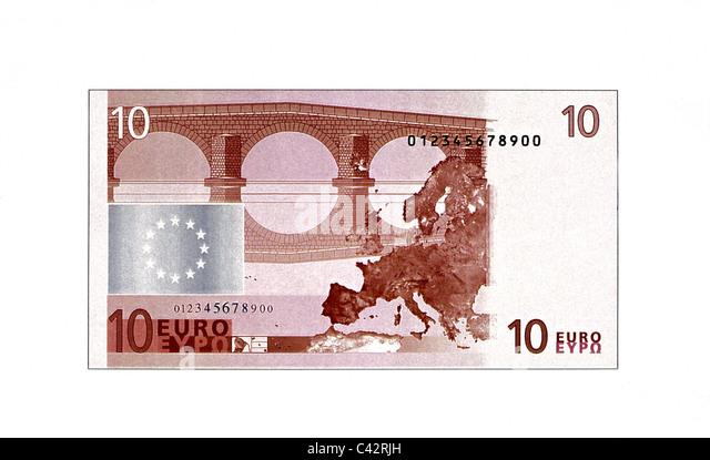 money, banknotes, euro, 10 euro bill, reverse, banknote, bank note, bill, bank notes, banknote, bank note, bill, - Stock Image