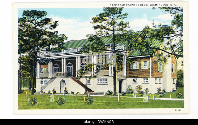 This 1930s postcard shows Cape Fear Country Club in Wilmington, Delaware. - Stock Image