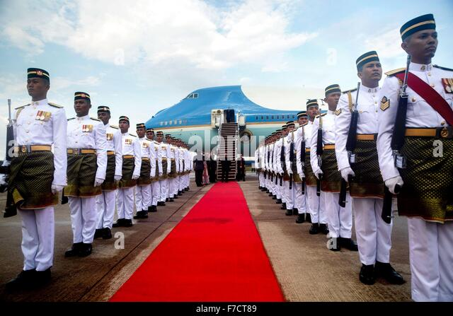 U.S. President Barack Obama walks out from Air Force One onto the red carpet after arrival at Subang Airbase November - Stock Image