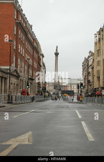 London, UK. 1st January 2017. A deserted Whitehall with the Nelsons Column seen in the background ahead of the annual - Stock Image