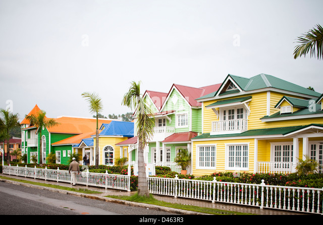 Colorful houses line the street in Samana, Dominican Republic. - Stock Image