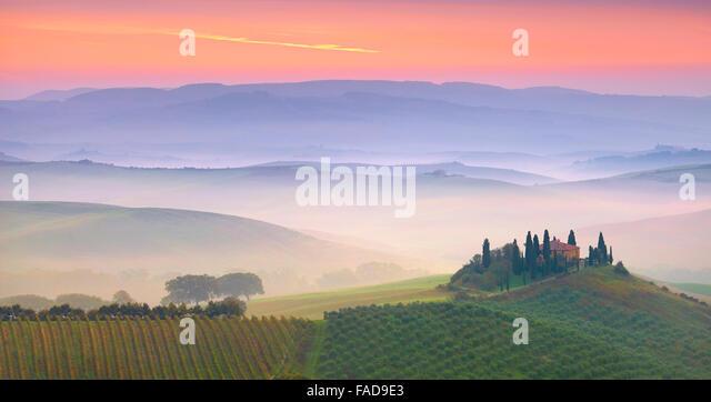 Tuscany landscape, San Quirico d'orcia, Italy - Stock Image
