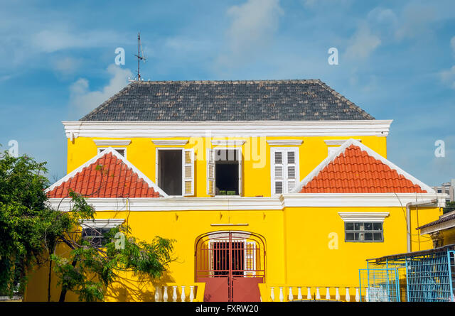 Colorful Dutch architecture in the historic Scharloo district Willemstad Curacao - Stock Image