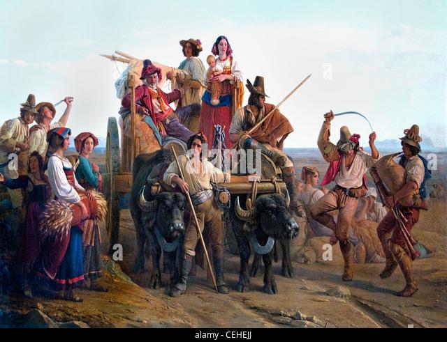 L'Arrivée des moissonneurs dans les marais Pontins 1830 Leopold Robert The Arrival of the reapers peasants - Stock Image