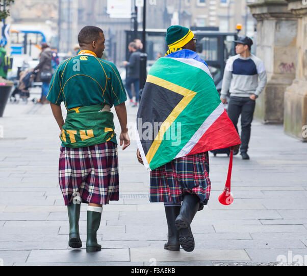 South Africa fans wearing kilts at Rugby world cup in Newcastle upon Tyne, UK. 3rd October, 2015. - Stock Image
