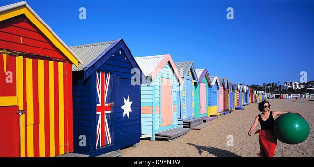 Bathing boxes at Dendy Street Beach, Brighton. Melbourne Australia - Stock Image