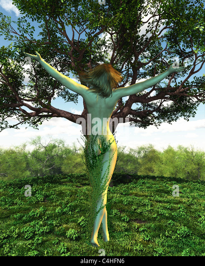 Dryad or Tree Nymph with her tree - Stock Image