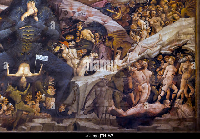 Lucifer Eating Sinners, Heaven and Hell fresco, Cappella Bolognini, Chapel of the Magi, by Giovanni da Modena, 1410, - Stock Image