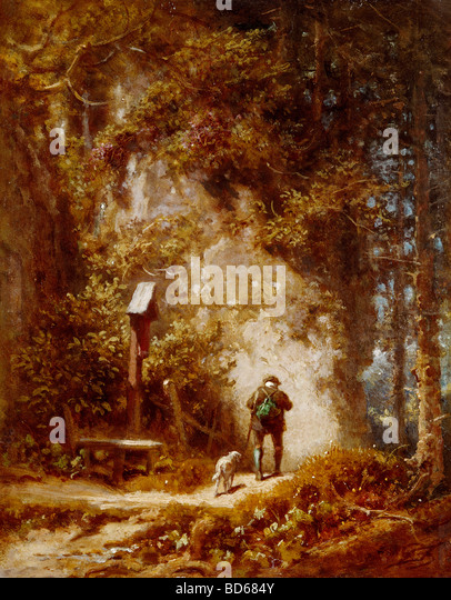 fine arts, Spitzweg, Carl (1808 - 1885), painting, hunter in the forest, Wimmer Gallery, Munich, wood, woods, Karl, - Stock Image
